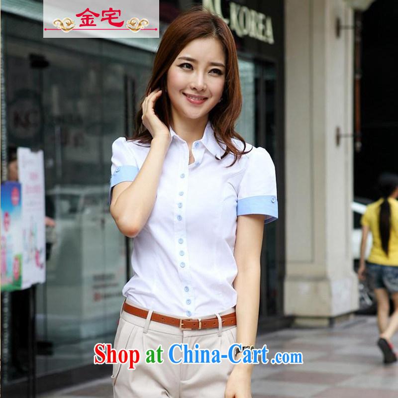 Rep. Kim 2015 summer new short-sleeved shirt, cultivating graphics thin bowtie cotton white shirt female Professional Kit White - short-sleeved M