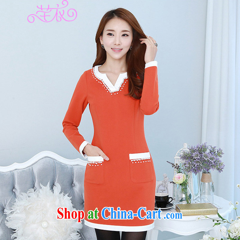 Constitution, indeed, XL girls with short skirts thick MM Load fall 2015 new Korean stylish long-sleeved staple Ju-won V for collision-color dresses lady skirt orange 2 XL 130 - 145 jack