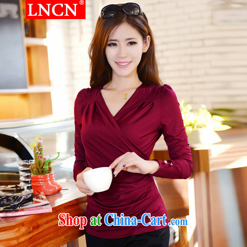 LNCN 2015 spring new XL ladies' long-sleeved V for cultivating solid T shirt wine red XXXL