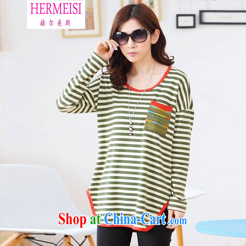 The Helms-Burton Act, Autumn 2014 the new, long, Korean streaks relaxed thick MM T-shirt 100 ground long-sleeved shirt T larger women 15,228 #green XXXL recommendations 160 - 180 jack
