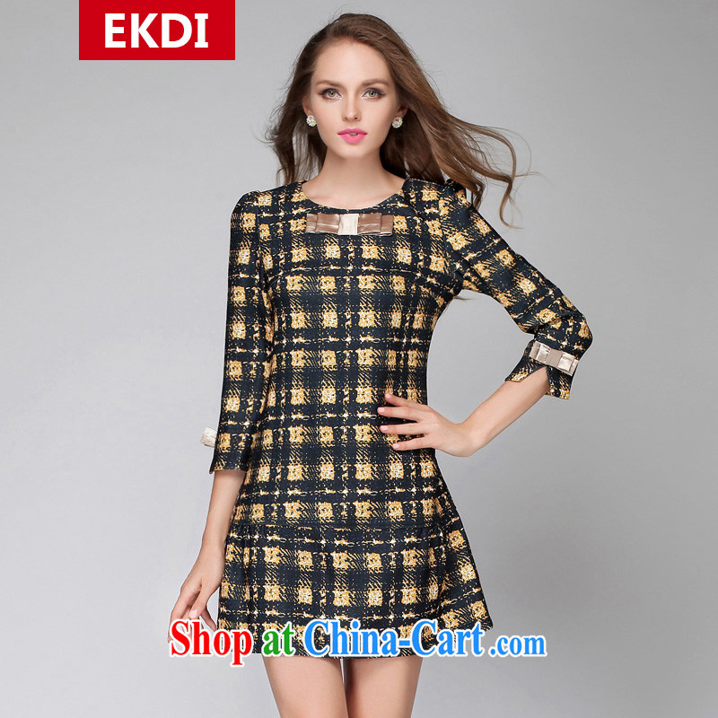The silk, honey King, women's clothing thick MM graphics thin spring round-collar tartan relaxed dress ZZ 1523 photo color 4 XL _165 jack - 180 Jack through_