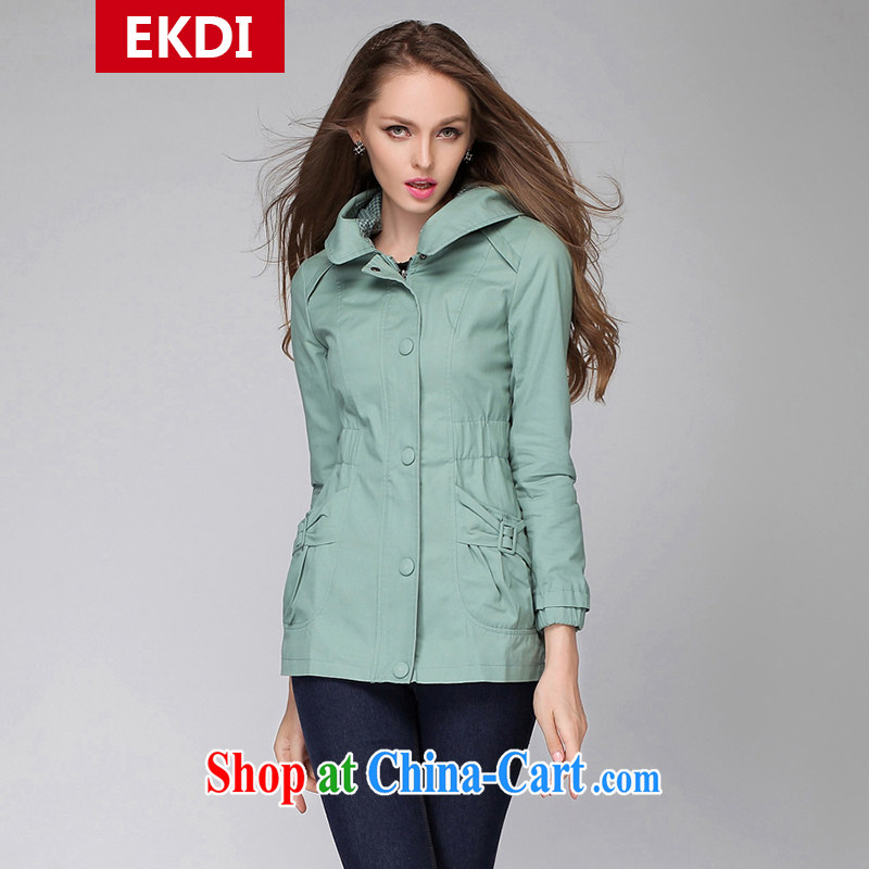 The silk, honey King, women's clothing thick MM spring graphics thin loose cap wind jacket ZZ 3283 green XL _121 jack - 135 Jack through_