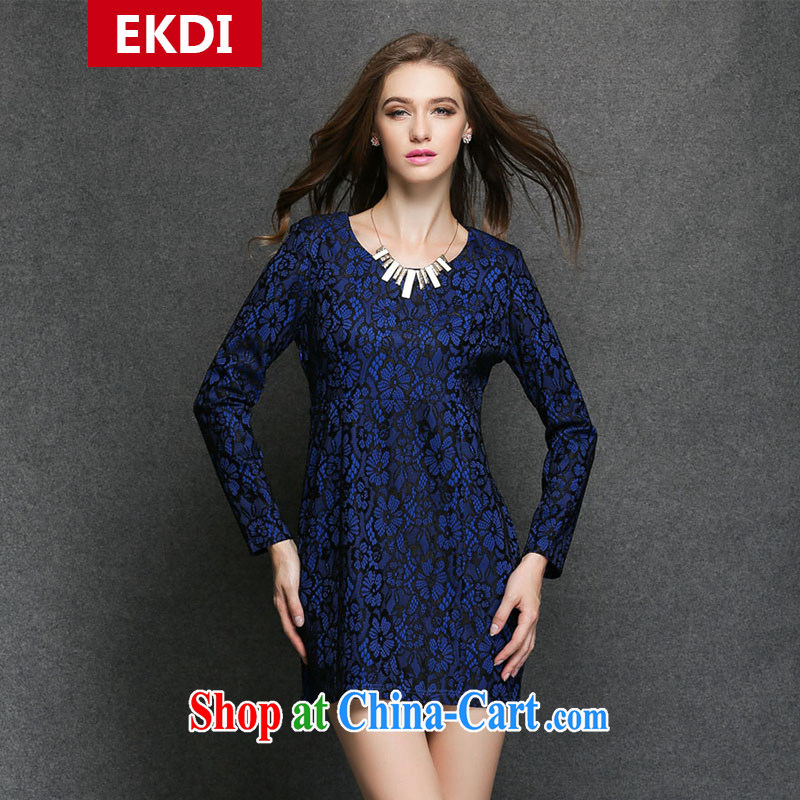 The silk, honey King, women's clothing thick MM graphics thin spring round-collar composite stamp loose dress ZZ 3295 blue XL _121 jack - 135 Jack through_
