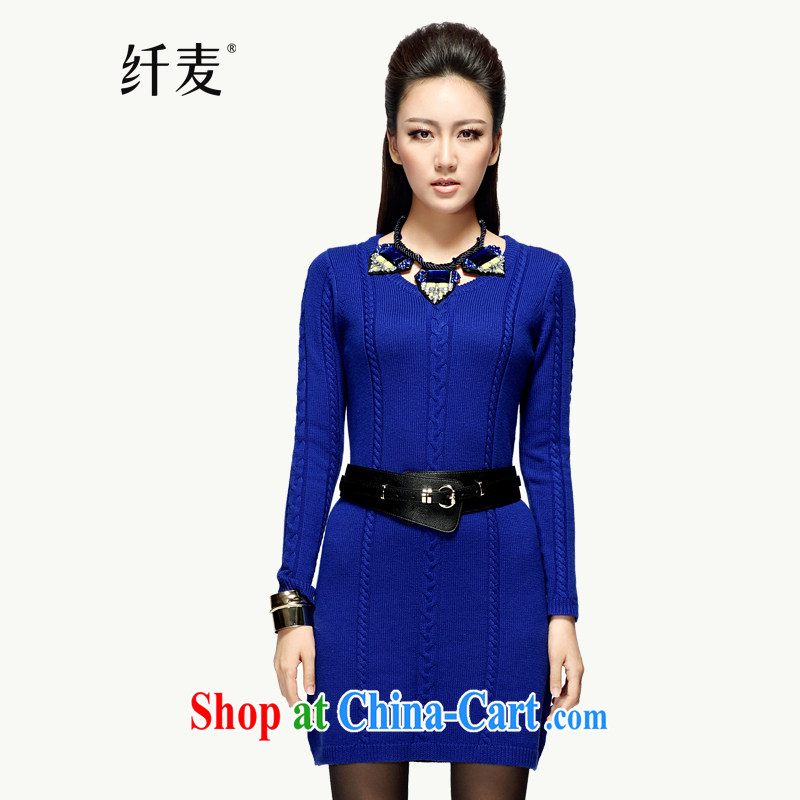 The Mak is the women's clothing fall with vertical streaks knitted dresses YF - 14,085 blue 3 XL