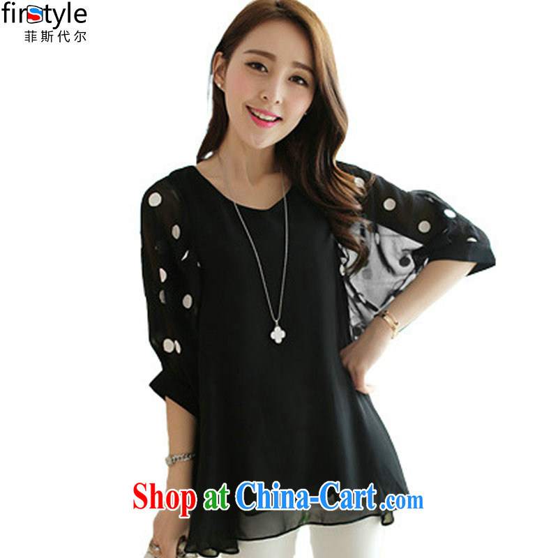 Donald Rumsfeld, the new 2014 autumn, bats, snow cuff woven embroidered large, loose T-shirt Korean wave is large, female 3812 black 4XL