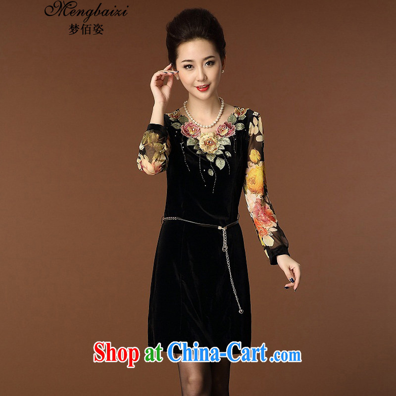 Let Bai beauty 2015 new mom with stamp duty, wool embroidered snow-woven style beauty larger dresses LQD 946_ black M