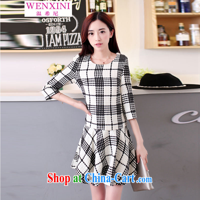 Wen The Greek, spring 2015 version won the Hong Kong Wind two-piece black-and-white checkered 9 beauty cuff Leisure package dresses skirts body skirt white XXL