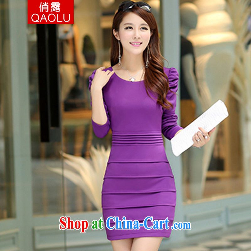 Terrace for autumn 2014 the new style package and dresses girls bubble cuff Korean Beauty long-sleeved clothes 243 purple XXL