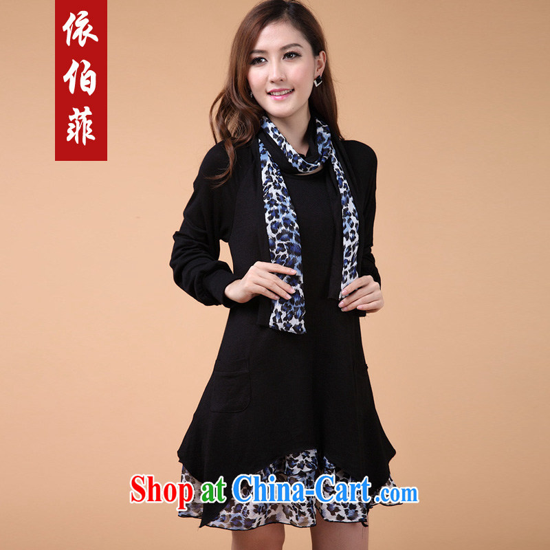 According to the Philippines 2014 autumn and winter new thick MM and indeed increase code loose leave two Leopard stitching solid knitted dresses female Y 129 black 3 XL
