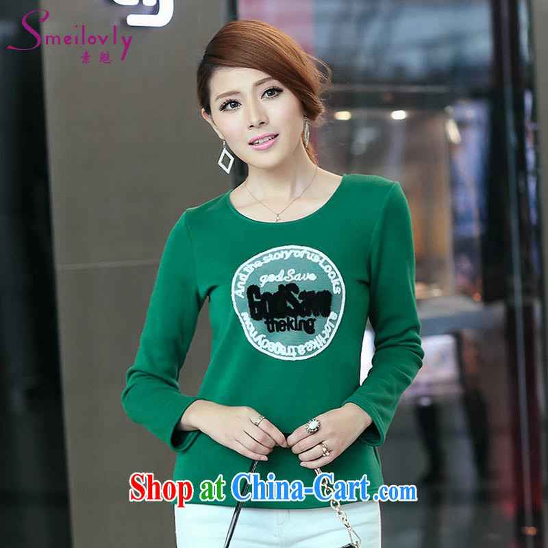 Of 200 Of The jack is indeed increasing, female thick mm 2014 autumn and winter with the lint-free cloth thick solid long-sleeved T-shirt T shirt T-shirt cotton S 1702 green 2 XL (the lint-free cloth thickness)