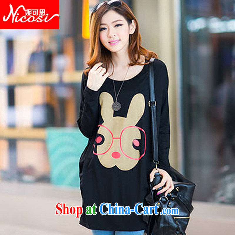 Connie to the Korean edition 2015 spring new thick mm larger female loose bat sleeves, long-neck long-sleeved stamp T shirts female solid T-shirt T-shirt female rabbit ears black 304 are code