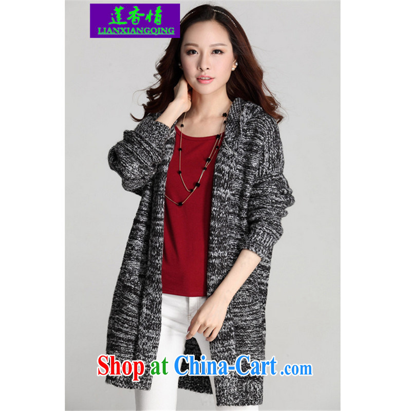 Chou Lien-hsiang, Autumn 2015 the new, long, thin, loose jacket knitting T-shirt girls cardigan cap sweater Y optimize dark gray large numbers are code