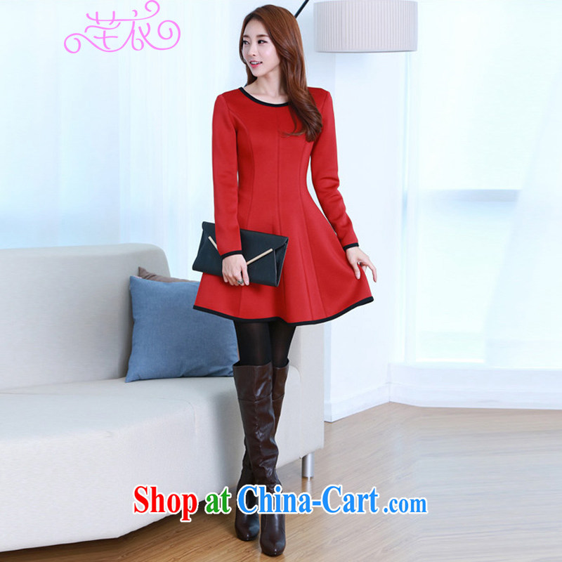 Constitution, thick, XL girls decorated skirt, thick mm 2015 autumn and winter version Korea stylish knocked color stitching and elegant and classy graphics thin dresses ladies skirt solid red 4 XL 155 - 170 jack