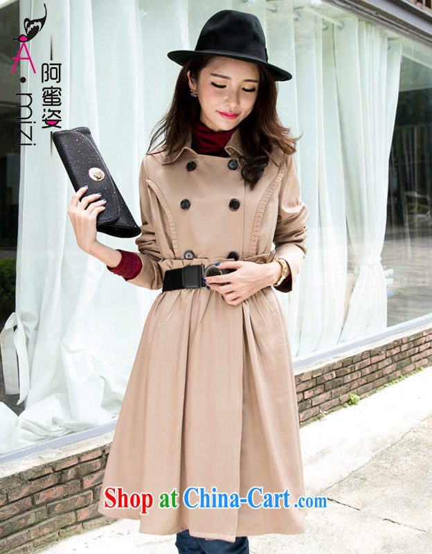The honey and diverse large code female elegance thick MM lapel double-cultivating long-yi girls with Lap 2633 card its color XXXL