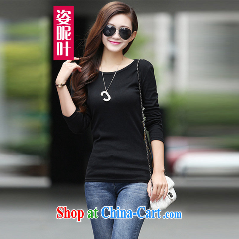 colorful nicknames, Autumn 2014 the new Korean loose long-sleeved shirt T female larger solid T-shirt T-shirt female Y 8659 black XXL