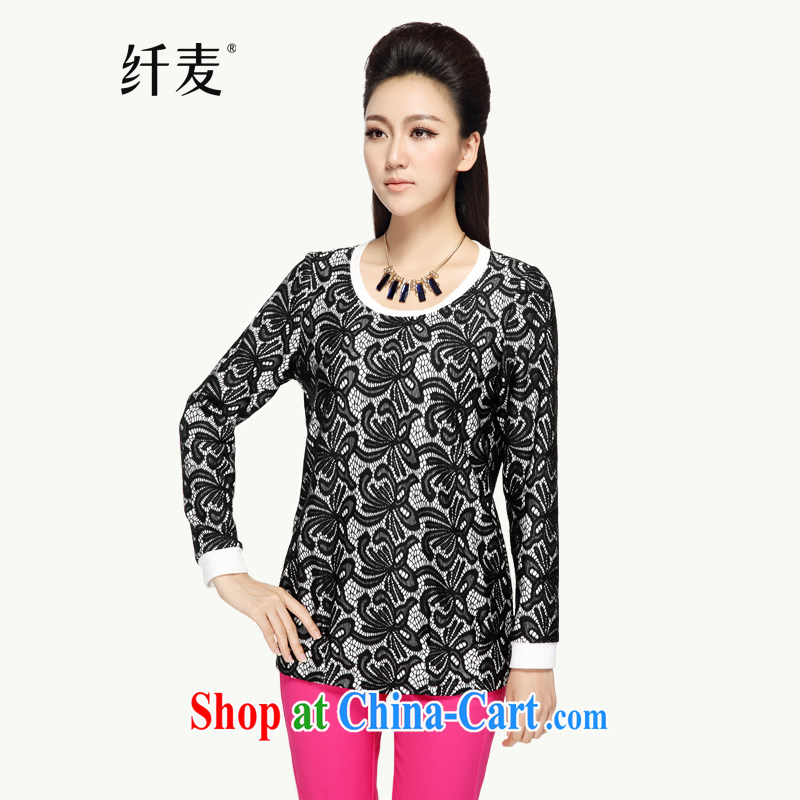 Slim, Mr Big, women fall 2014 new collision color stamp loose shirt 43,093 black 6 XL