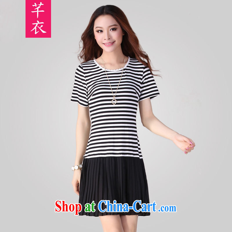 Constitution Yi XL women dresses 2015 spring new stitching 100 hem snow woven skirt thick sister leisure video thin stripes short skirts OL the skirt black to reference brassieres waist option, or the Advisory Service