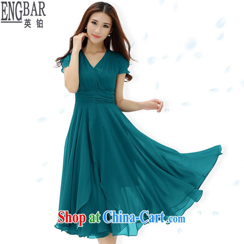 The British Pullman summer 2015 new, short-sleeved large code female Korean style lady-waist snow woven dresses women cultivating long skirt Y 1296 Lake blue XL code