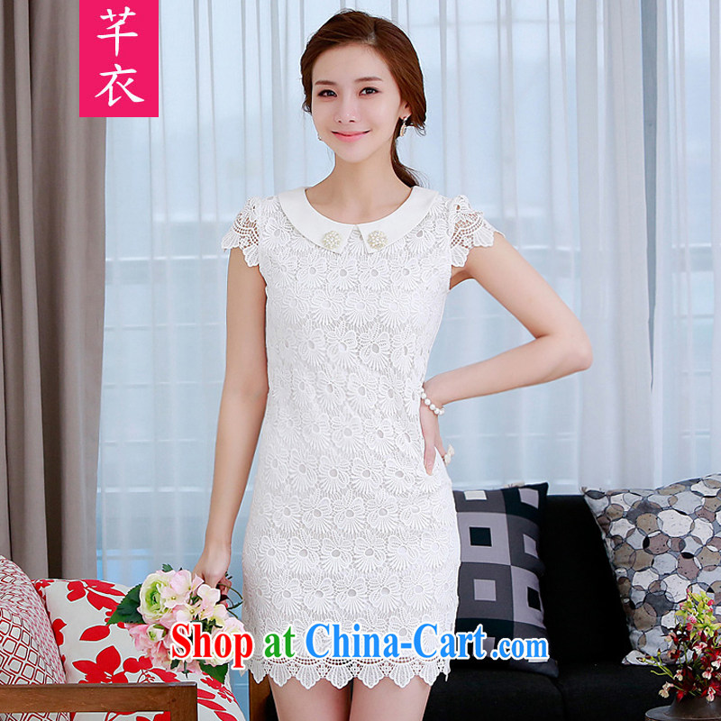 Constitution and clothing increased, women's clothing dresses 2015 summer new Korean version lapel lace dress mm thick and beautiful and elegant lace-flower-shaped short skirt white reference brassieres waist option code or the advisory service