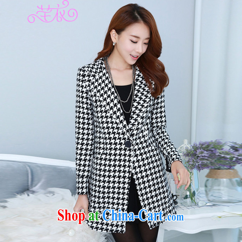 Constitution and the obese people increase, autumn and winter 2015 new Korean version, long, 1000 bird, long-sleeved thick tweed wool jacket is black to reference brassieres option, or the advisory service