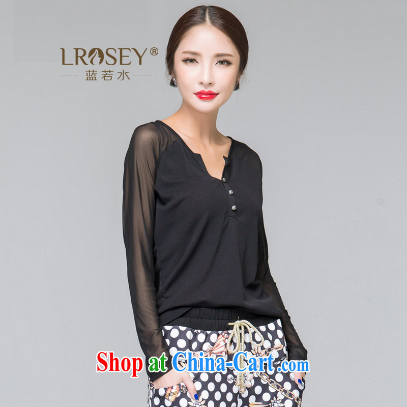 Blue Water 2014 the Code women autumn 2014 the new high-end quality long-sleeved shirt T Korean Beauty mm thick solid black shirt XXL