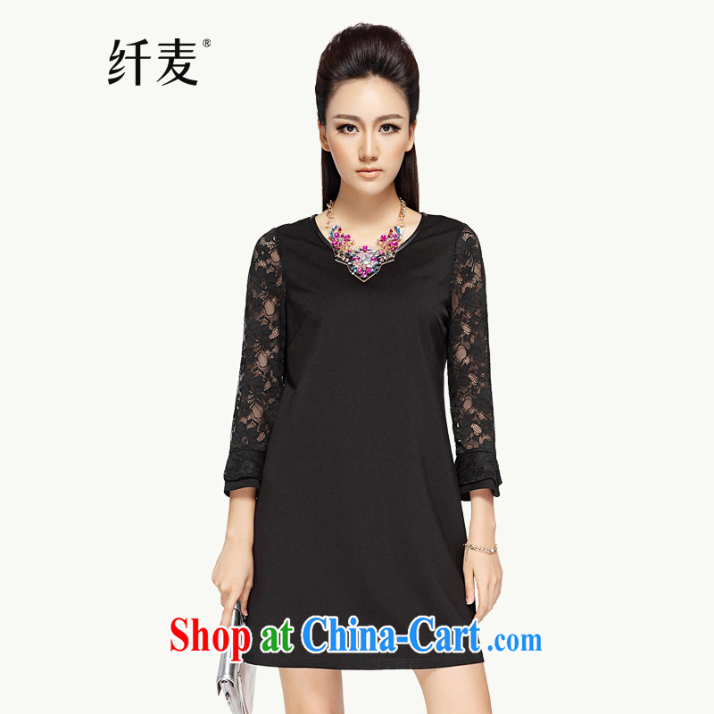 The Mak is the women fall 2014 with new thick mm stylish lace stitching Small horn cuff dress 43,151 black 5 XL