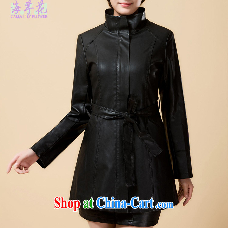 sea routes take new, long, large, Windbreaker loose larger female PU jacket larger jacket J 1314 - 5 black 6 XL
