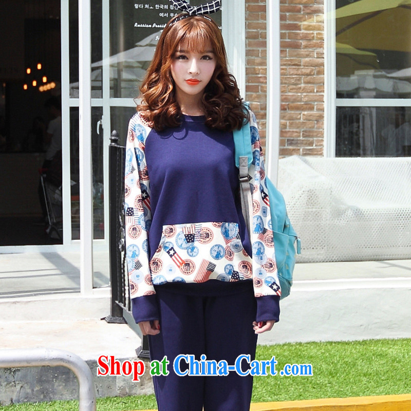 Optimized for the one XL girls with 2014 mm thick Autumn with Korean version of the new, the shoulder sleeve sweater video thin Leisure package containing cyan XXXXL