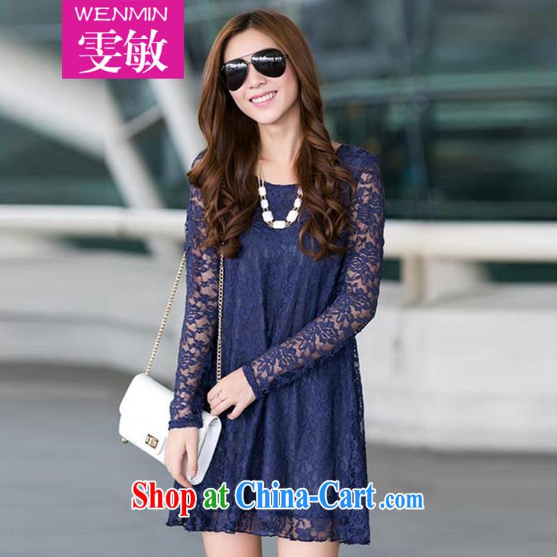 Wen Min autumn 2014 the Korean edition long-sleeved lace hook spend long, large, female 5055 dark blue 5055 XXXL