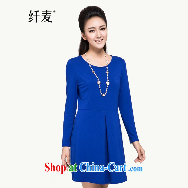 Slim, Mr Big, women autumn 2014 the new loose cotton dress 43,505 blue 6 XL