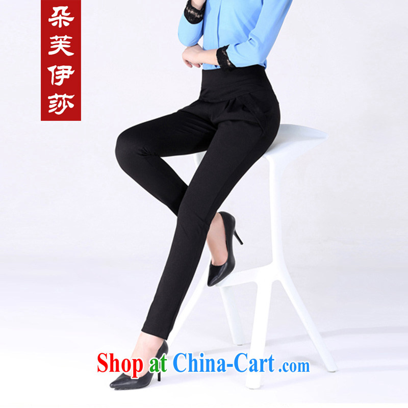 flower girl Isabelle 2014 Korean New OL career with stylish lace pants thick MM larger Harlan pants female D 7186 black 4XL