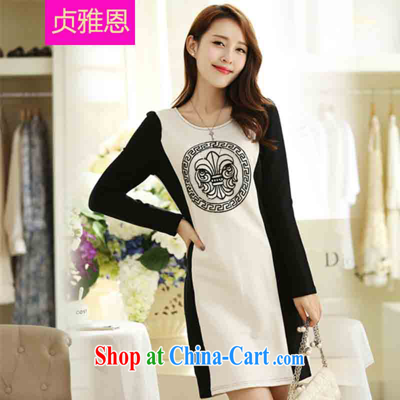 Jung-eun-new Pure Cotton long-sleeved dresses winter code female fat people graphics thin, autumn is the collar long skirt solid Y 2685 white 5 XL