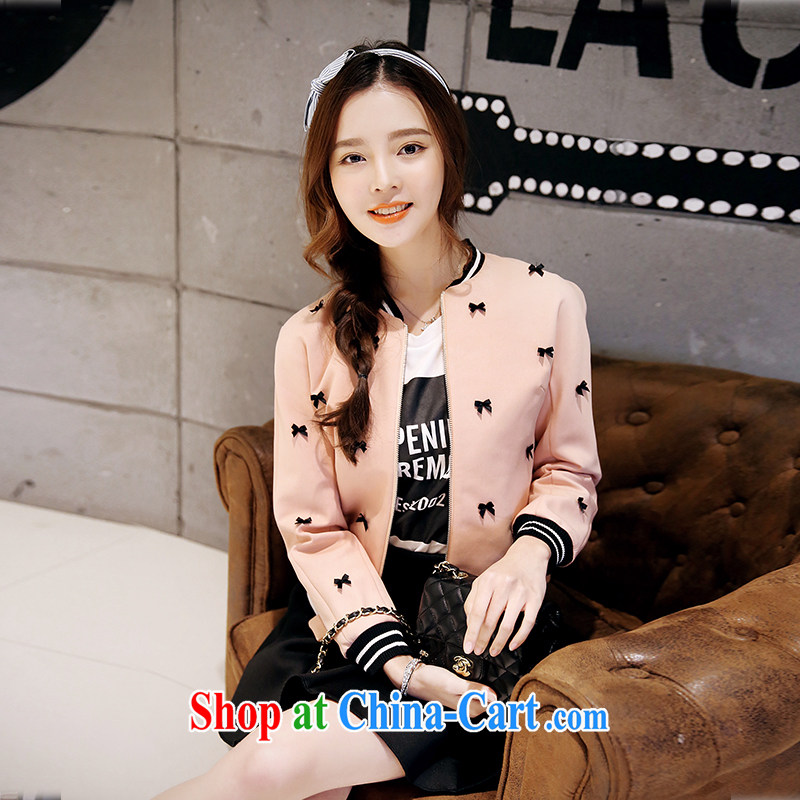 Moses Veronica larger female 2015 Korean autumn with new, thick mm baseball uniform graphics thin bowtie sweater jacket female rubber toner XXXXL