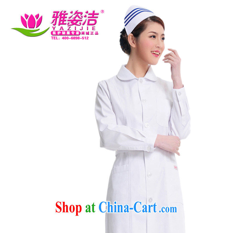 Jacob beauty Kit nurses serving scoop neck white Pink Blue Green collar long-sleeved winter clothing and use the lab health care, her reception to the beauty shop serving JD 24 white L