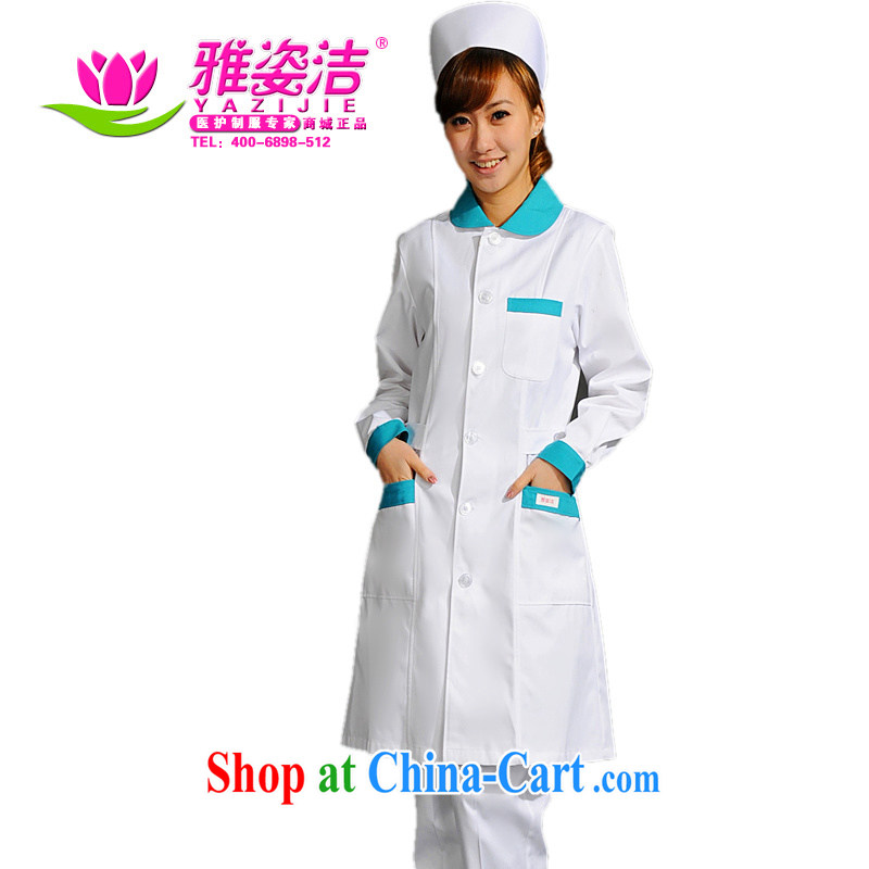 Beauty, dirty nurses serving scoop neck white Pink Blue Green collar long-sleeved winter clothing and use the lab health care on her desk to the beauty shop serving JD 26 white green collar L