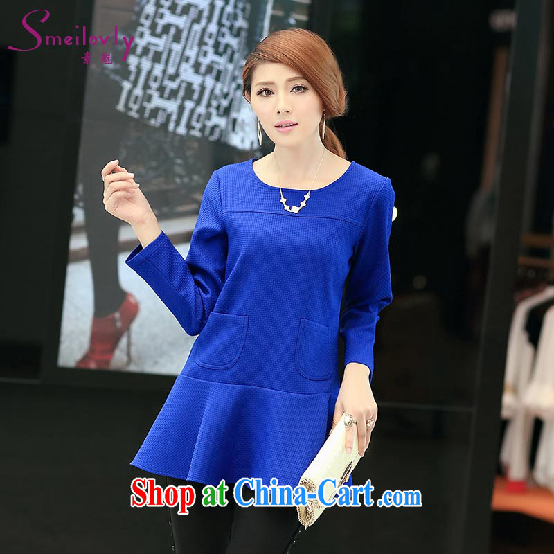 Staff of the fertilizer XL women mm thick autumn 2014 the new Korean version thick sister stylish long, long-sleeved shirt T T-shirt S 1712 blue 5 XL