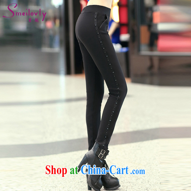 Director of King, female thick mm 2014 new leisure high waist black dress pants solid trousers castor pants fall and winter season, 9038 S black 5 XL