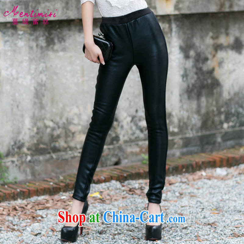 Mephidross has long honey, the Code women 2014 autumn and winter with new Korean video thin beauty PU leather pants castor pants girls pants and lint-free cloth thick 9013 black large code XXL