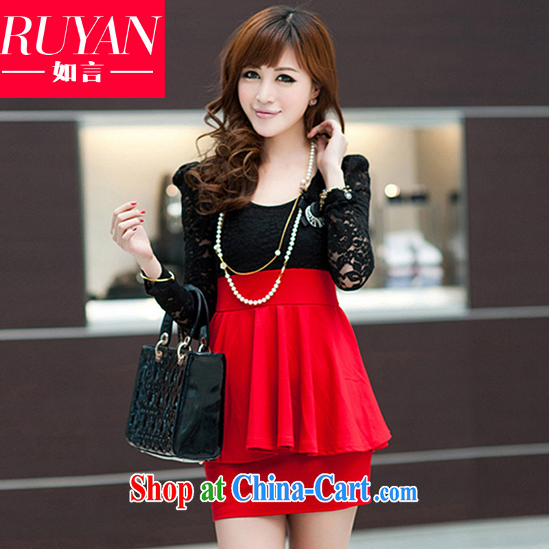 mm thick and fat increases, female Spring, Spring 2015 new Korean version thick sister beauty graphics thin-waist lace flouncing package and long-sleeved dresses solid red and black XXXL