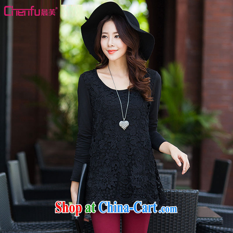 Morning would be 2015 new spring loaded the Code women with stylish and elegant 100 ground stitching lace shirt with graphics thin lace hook take leave of two 100 hem, with solid black T-shirt 4 XL (165 - 180 ) jack