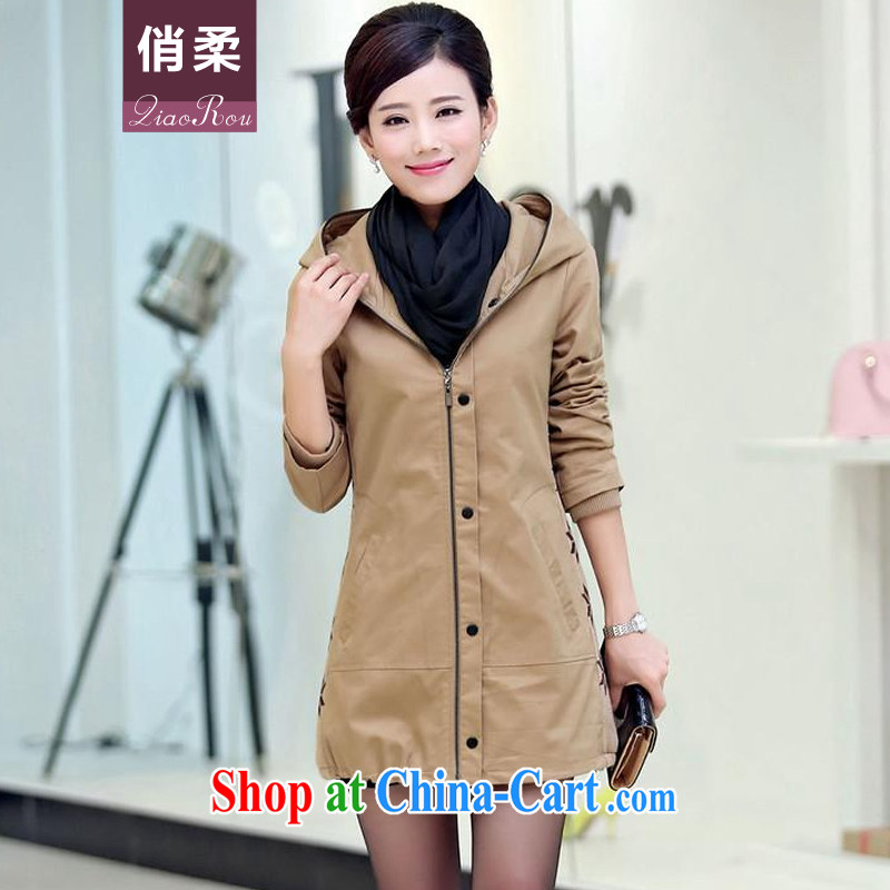 To Sophie 2015 autumn is new, and indeed increase jacket Korean video thin large Code women in long-yi girls thick mm mother-in-law MOM khaki-colored 3 XL recommendations 140 - 160 jack