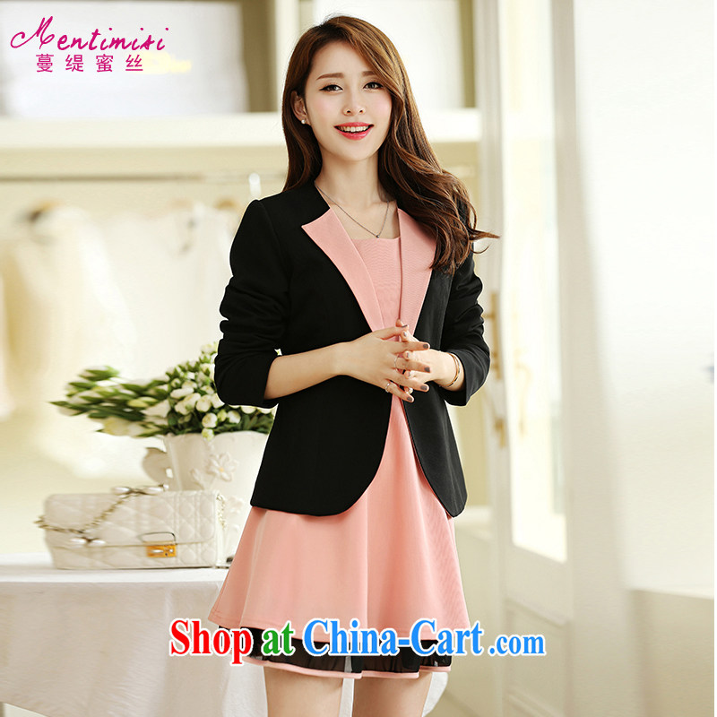 Mephidross economy honey, Autumn 2014 the new paragraph mm thick Korean version of the greater code girl with a kernel for short video skinny jacket 5021 black large code 5 XL