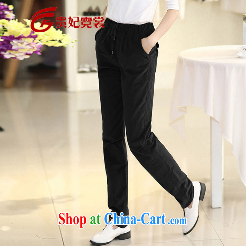 queen sleeper sofa Ngai Sang mm thick 2015 spring new king, female corduroy castor pants loose video thin leisure XL leisure pants A 180 black 4XL