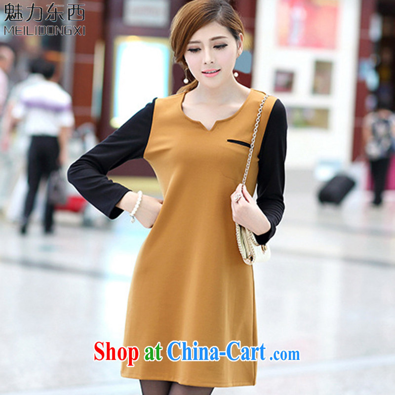 What charm summer 2015, Korean version of the greater code girls decorated in stylish thick MM solid long-sleeved dresses women S 2648 yellow XXXL