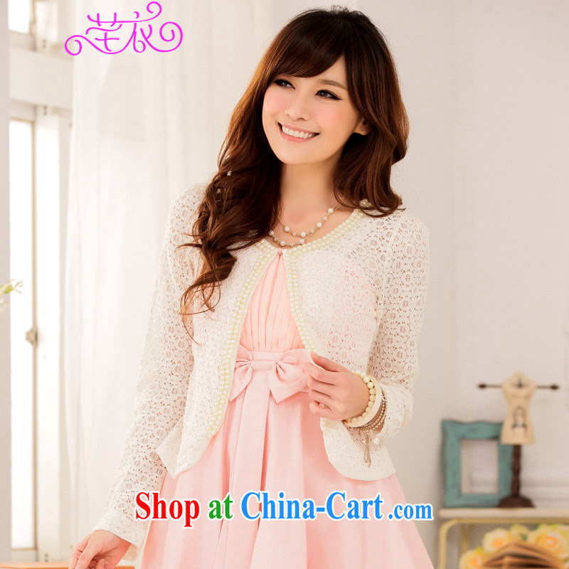 CONSTITUTION AND CLOTHING XL female small shawl 2015 spring new Korean lady sweet 100 on the ground, air-conditioned T-shirt Openwork lace white reference brassieres option code or the Advisory Service