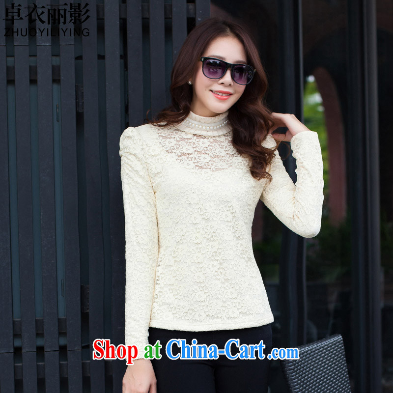 Cheuk-yan yi li video spring 2015 new thick MM aura video gaunt for biological empty hook take thick solid shirt S 9676 apricot 4 XL
