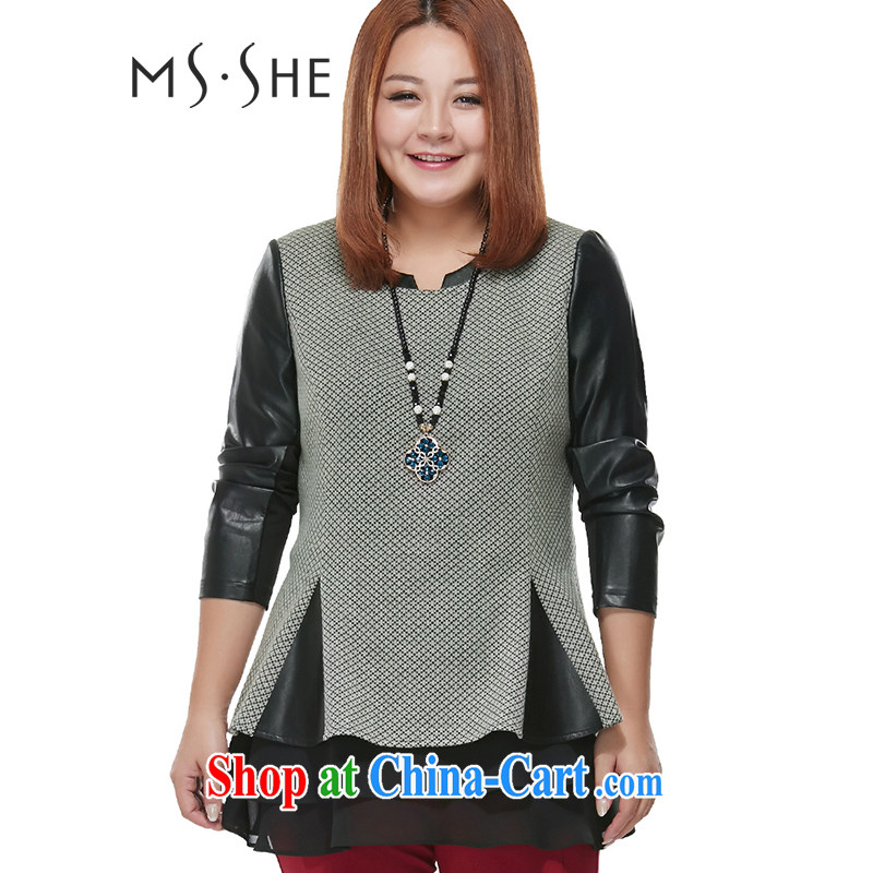MsShe XL ladies' 2015 spring new round-collar PU stitching lace leave of two in the waist shirt clearance 2006 black and gray 5 XL