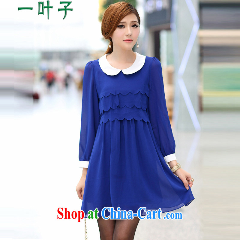 A leaf fall 2014 new the fertilizer greatly, long-sleeved video thin ice woven dresses blue XXXXXL