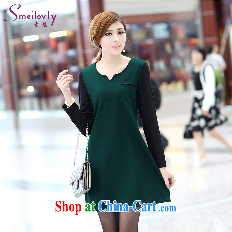 Staff of the fertilizer XL female 200 Jack mm thick load fall 2014 new Korean style long-sleeved video thin A field dresses S 2648 dark green XXL