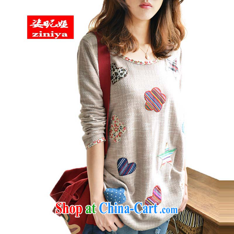 Colorful nickname Julia fall 2014 new Korea, and indeed increase, women mm thick solid casual shirts fat people video thin cotton, the long picture color thin XXXXL 160 - 180